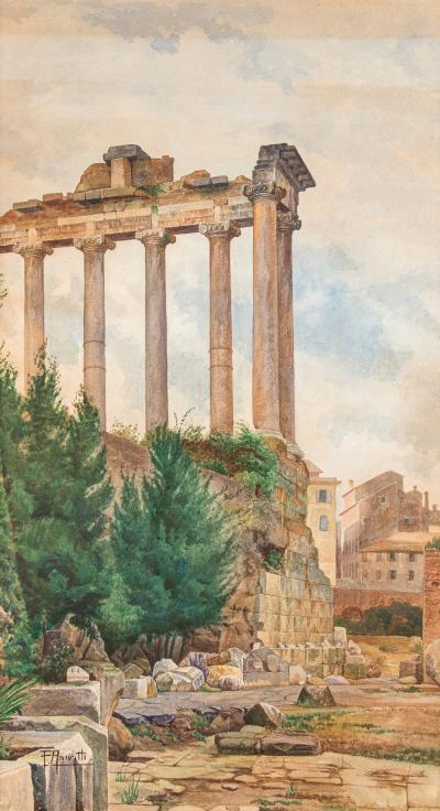 Filippo Anivitti Filippo Anivitti Watercolors On Cardboard View of Roman Forum