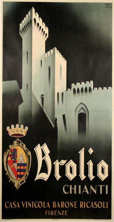 Filippo Romoli Italian Futurist Period Wine Poster by Filippo Romoli 1938