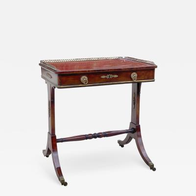 Fine 1815 Regency Mahogany and Bronze Mounted Writing Table