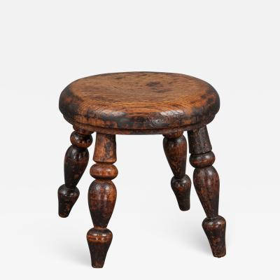 Fine 19th Century Turned Ash Nursery Stool