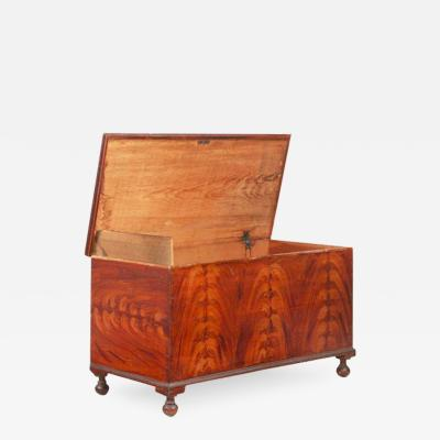 Fine American Flame Painted Blanket Chest Pennsylvania c 1830 50