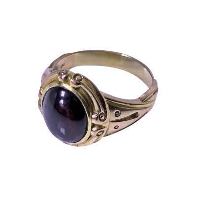 Fine Antique 19th Century 14K Rose Gold Carbuncle Ring C 1880