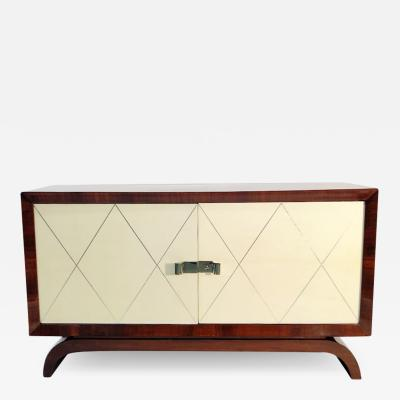 Fine Art Deco Cabinet Palisander Veneer and Parchment