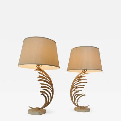 Fine Art Lamp Co Rare Mid Century Pair Iron Palm Frond Fine Art Lamp Co Lamps circa 1985