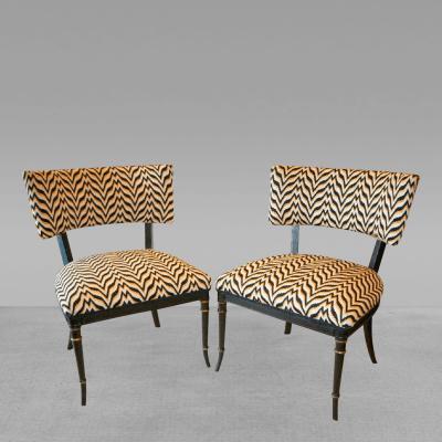 Fine Bargello Klismos Pair Chairs Black Painted and Parcel Gilt