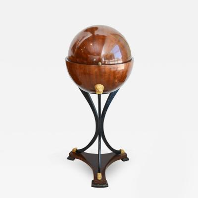 Fine Biedermeier Mahogany Ebonized and Parcel Gilt Globe Form Work Desk