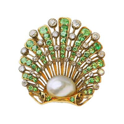 Fine Demantoid Diamond Natural Pearl Brooch England C 1890