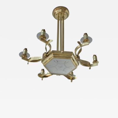 Fine French 1960s Brass and Glass Chandelier