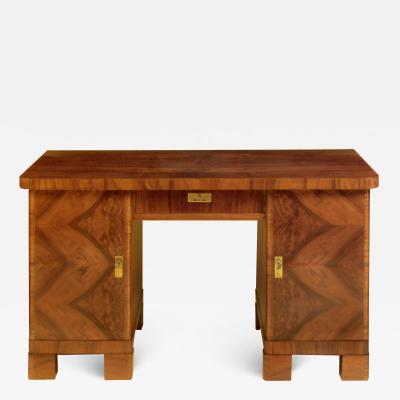 Fine French Art Deco Ladys Desk with Geometric Walnut Veneer