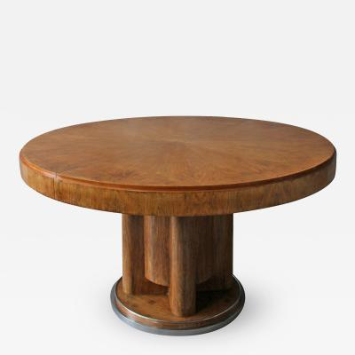 Fine French Art Deco Walnut Round Dining Table