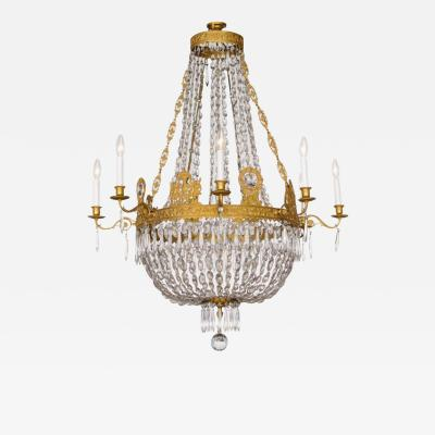 Fine French Empire Eight Light Ormolu and Crystal Chandelier