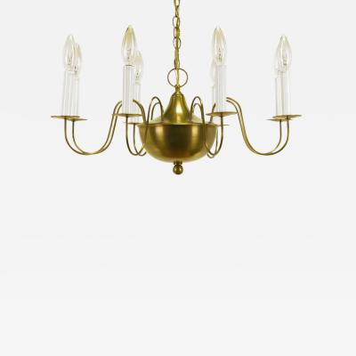 Fine Hand Spun Brass Eight Light Chandelier with Delicate Arms