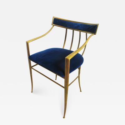 Fine Italian Modern Brass Klismos Form Armchair
