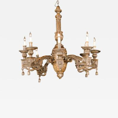 Fine Italian Neoclassic Giltwood Eight Arm Chandelier Late 18th Century