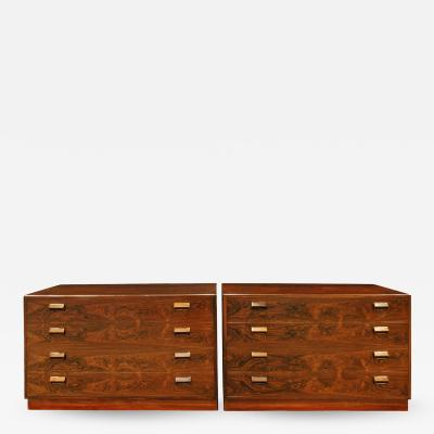 Fine Pair of Bedside Table Chests in Brazilian Rosewood 1950s