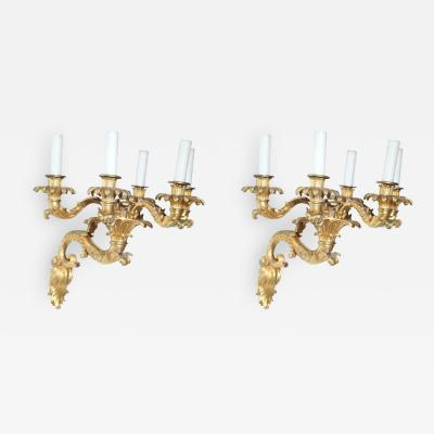 Fine Pair of Charles X Dor Bronze Five Arm Wall Lights