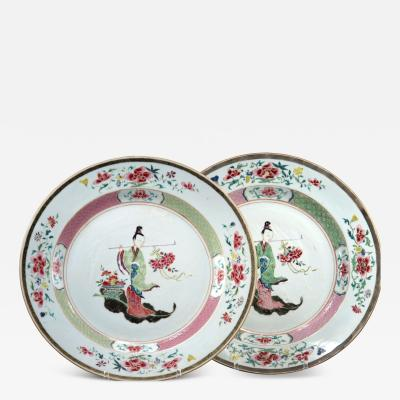 Fine Pair of Chinese Export Yongzheng Period 14 Chargers
