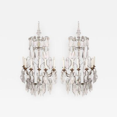 Fine Pair of Continental Seven Branch Cut Glass Wall Lights