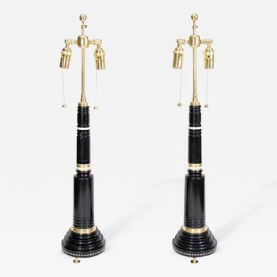 Fine Pair of French Empire Style Ormolu Mounted Ebony Lamps