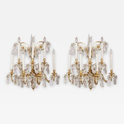 Fine Pair of Gilt Bronze and Rock Crystal Wall Lights France