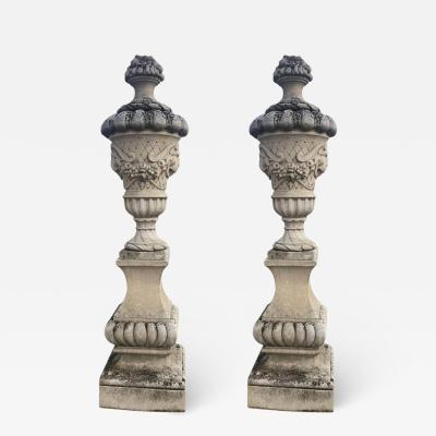 Fine Pair of Italian Carved Stone Garden Vases with Base
