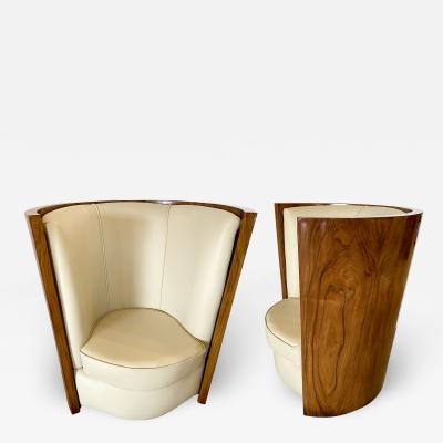 Fine Pair of Italian Late Art Deco Palisander Demi Lune Club Chairs
