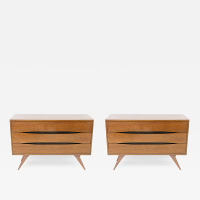 Fine Pair of Italian Modern Three Drawer Commodes Campo and Graffi Attributed