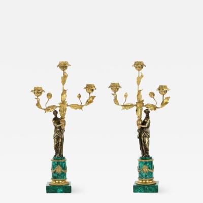 Fine Pair of Malachite and Bronze Figural Candelabra 19th Century