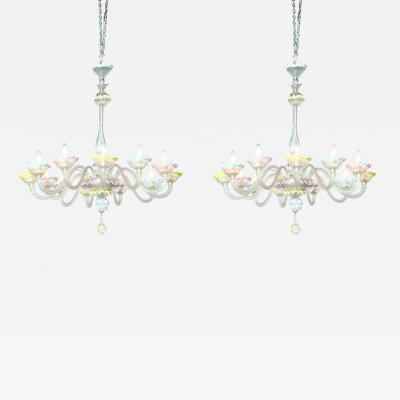 Fine Pair of Murano Glass Twelve Light Chandeliers 1950s Italy