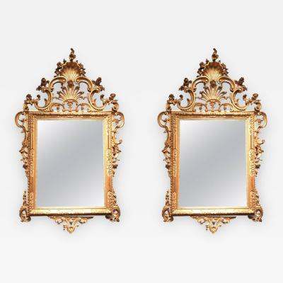 Fine Pair of Venetian Carved and Giltwood Mirrors Italy circa 1750