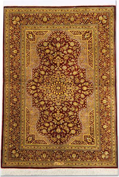 Fine Persian Silk Qum Rug 79x124cm
