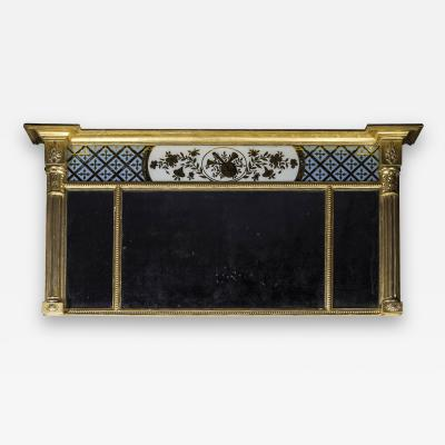 Fine Regency Verre Eglomise Overmantel Mirror