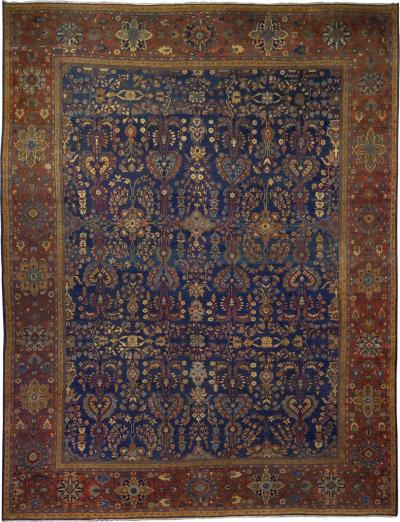 Fine Room Size Antique Mahal Rug w Heriz Serapi Colors 13 5 x 10 5