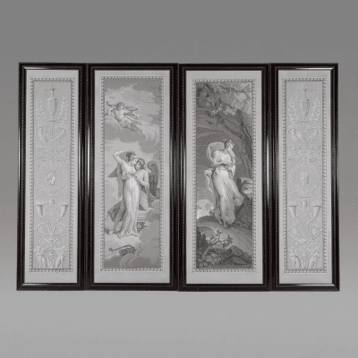 Fine Set of Four French Wallpaper Panels