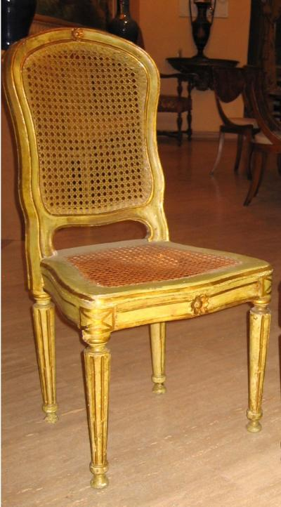 Fine Set of Six Italian 18th Century Painted and Parcel Gilt Chairs