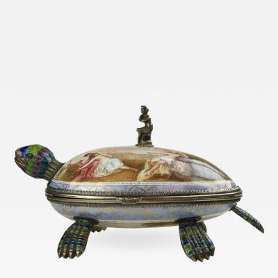 Fine Viennese Silver Gilt and Enamel Tortoise Turtle Box by Hermann Bohm