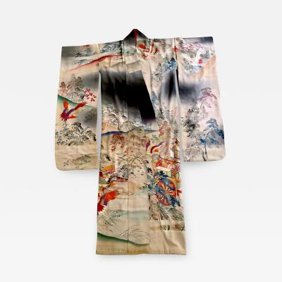 Fine Vintage Japanese Furisode Kimono with Yuzen Dyes and Embroidery