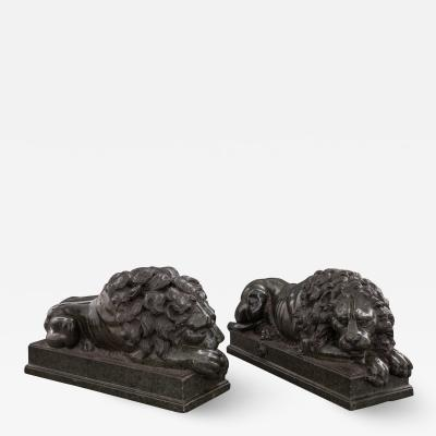 Fine and Large Pair of Grand Tour Marble Figures of Recumbent Lions