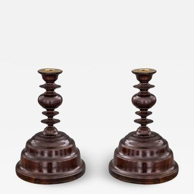 Fine and Very Rare Pair of Portuguese or Spanish Colonial Jacaranda Candlesticks