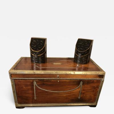 Fine large ship captain s camphorwood or teak brass bound chest
