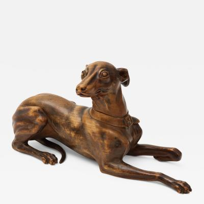 Finely Carved Recumbent Whippet Circa 1900s