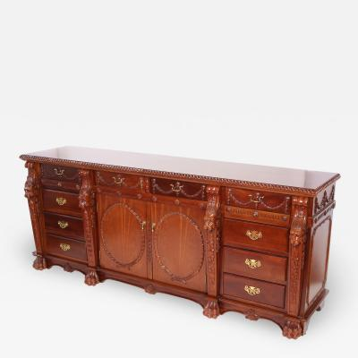 Finely Hand Carved Mahogany Wood Server Sideboard