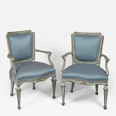 Finely Painted Pair of Louis XVI Venetian Armchairs