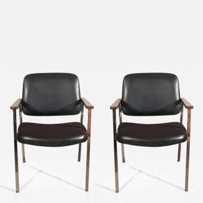 Finn Juhl Bauhaus Chrome and Wood Black Armchairs