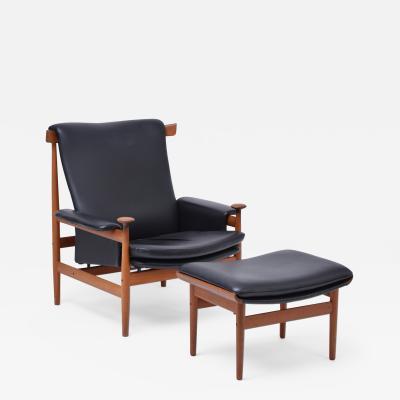 Finn Juhl Black Finn Juhl Easy Chair Model Bwana with Foot Stool Produced by France Son