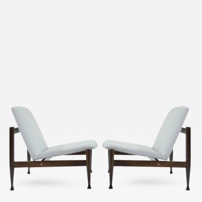 Finn Juhl Danish Modern Brass Accented Lounge Chairs in the Style of Finn Juhl