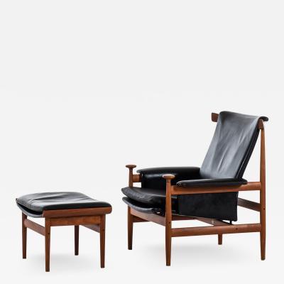 Finn Juhl Easy Chair Model Bwana with Stool Produced by France Daverkosen