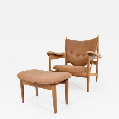 Finn Juhl Finn Juhl Chieftain Chair and Ottoman by Baker
