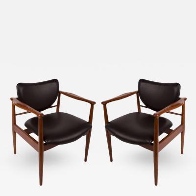 Finn Juhl Finn Juhl Danish Mid Century Modern Pair of Teak and Leather Armchairs
