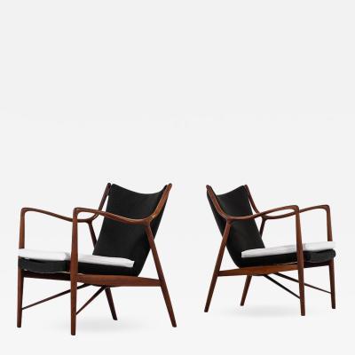 Finn Juhl Finn Juhl Easy Chairs Model NV 45 Produced by Niels Vodder in Denmark